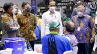 Presiden Joko Widodo didampingi Ketua Dewan Pers, Menkominfo dan Menteri Kesehatan meninjau pelaksanaan vaksinasi untuk jurnalis, Kamis (25/2/2021). (foto: Dok. SMSI)